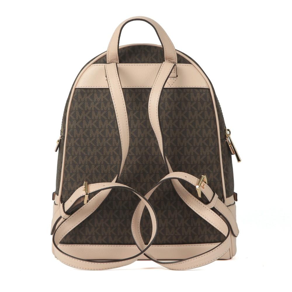 Rhea Medium Logo Pebbled Leather Backpack main image