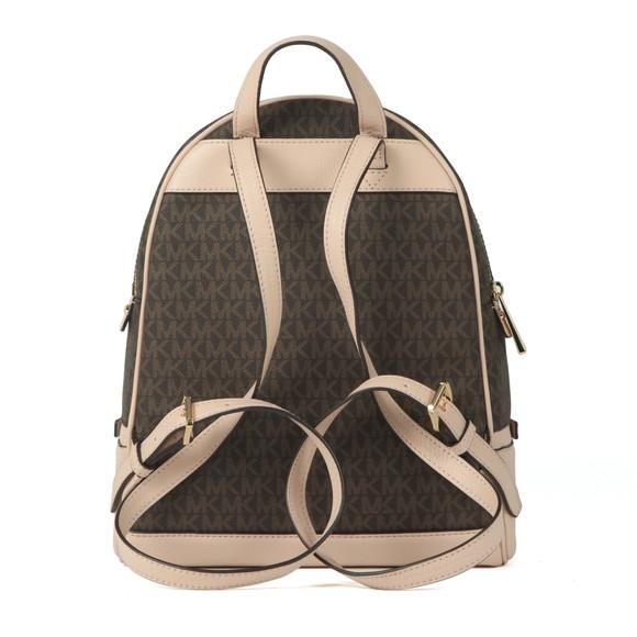 Michael Kors Womens Brown Rhea Medium Logo Pebbled Leather Backpack main image
