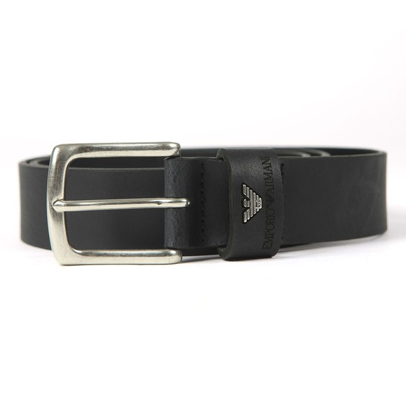 Emporio Armani Mens Black Logo Keeper Leather Belt