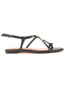 Ted Baker Womens Black Lerinna Embossed Croc Effect Flat Strappy T Sandal