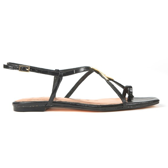 Ted Baker Womens Black Lerinna Embossed Croc Effect Flat Strappy T Sandal
