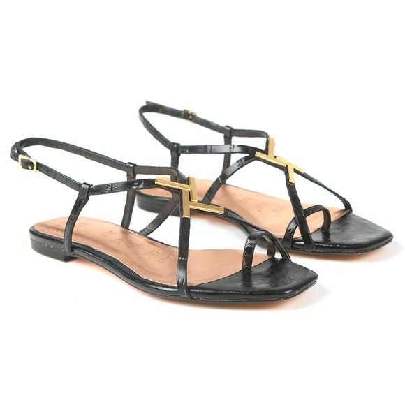 Ted Baker Womens Black Lerinna Embossed Croc Effect Flat Strappy T Sandal main image