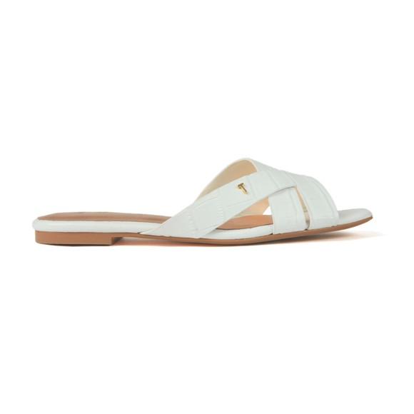 Ted Baker Womens White Zelania Embossed Croc Effect Flat Sandal