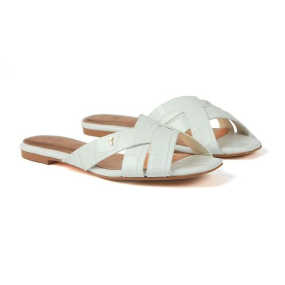 Ted Baker Womens White Zelania Embossed Croc Effect Flat Sandal main image