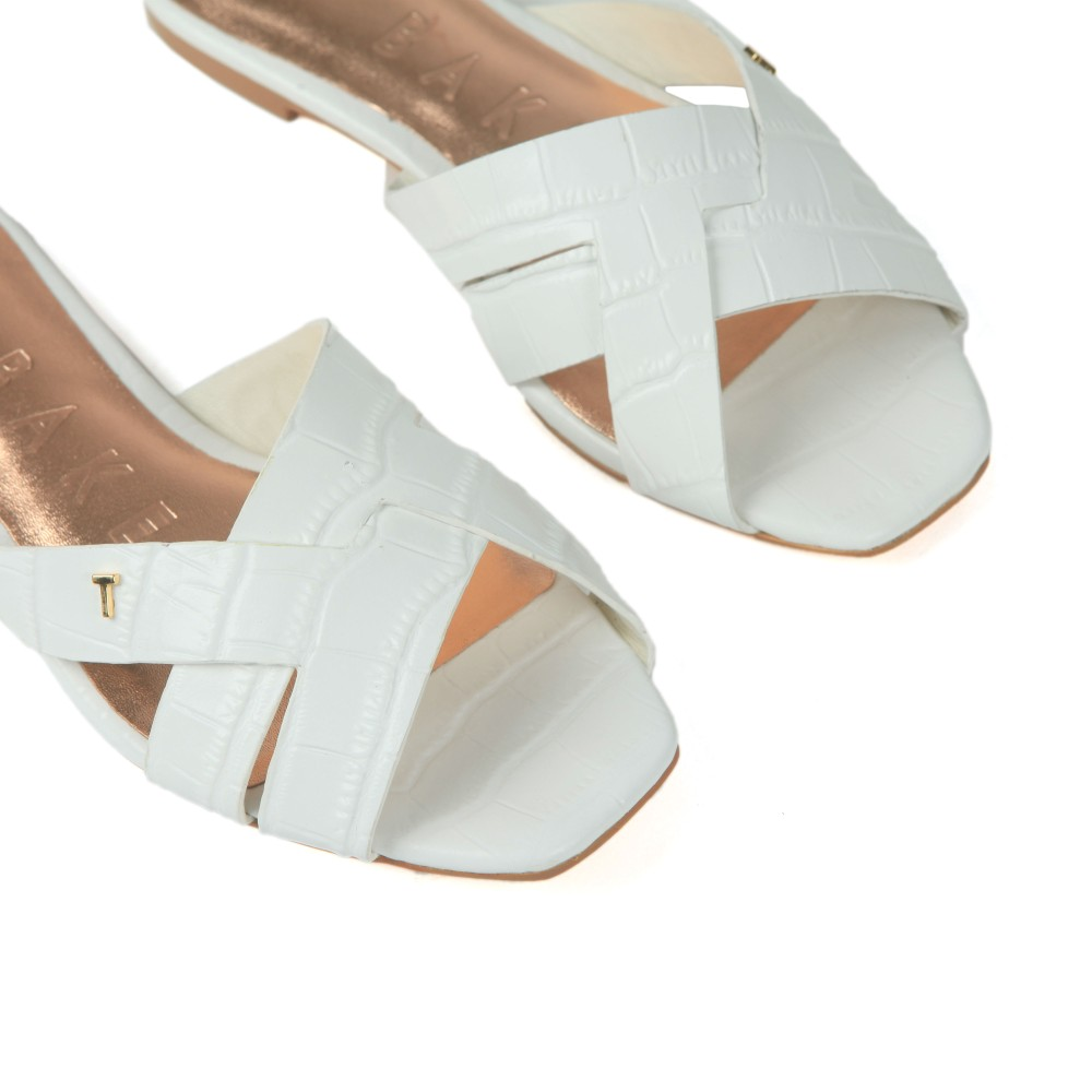 Zelania Embossed Croc Effect Flat Sandal main image