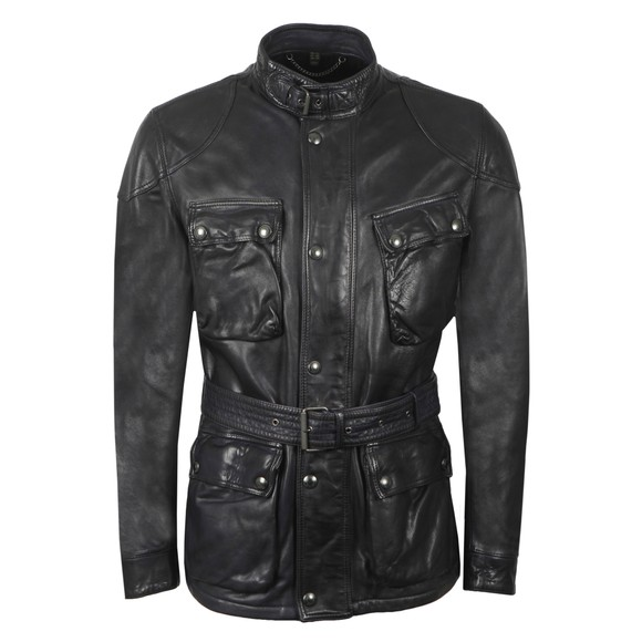 Belstaff Mens Blue Trialmaster Panther Leather Jacket