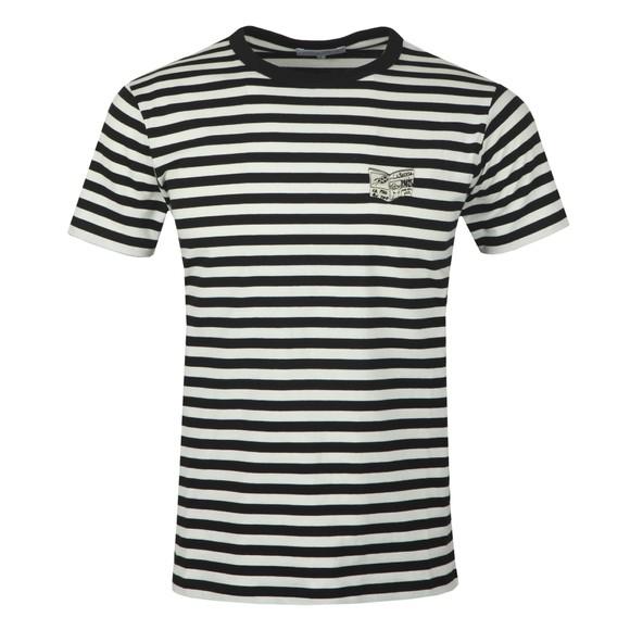 Maison Labiche Mens Black Striped Newspaper T Shirt