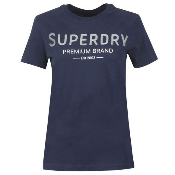 Superdry Womens Blue Premium Sequin Entry T-Shirt
