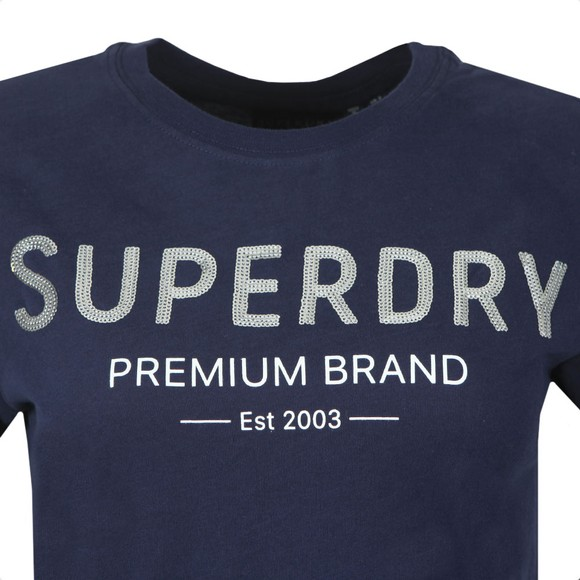 Superdry Womens Blue Premium Sequin Entry T-Shirt main image
