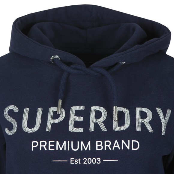 Superdry Womens Blue Premium Sequin Entry Hoody