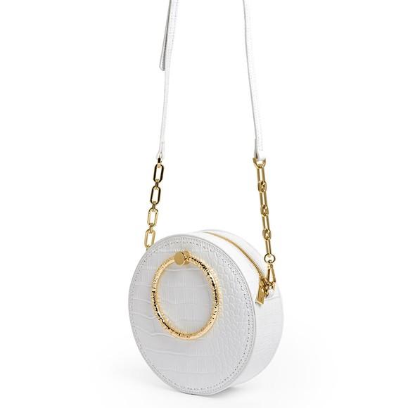 Ted Baker Womens Off-White Millah Textured Handle Croc Emb Circle XBody Bag main image