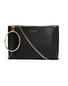 Ted Baker Womens Black Ingaah Textured Ring Bracelet Clutch