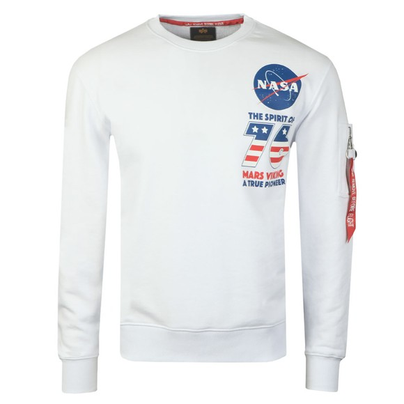 Alpha Industries Mens White Viking Basic Sweatshirt