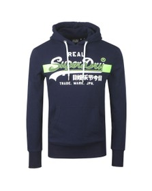 Superdry Mens Blue VL Cross Hatch Hoodie