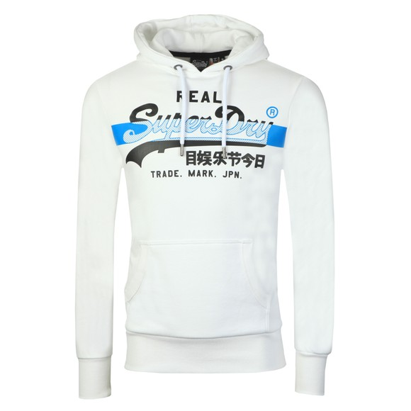 Superdry Mens White VL Cross Hatch Hoodie