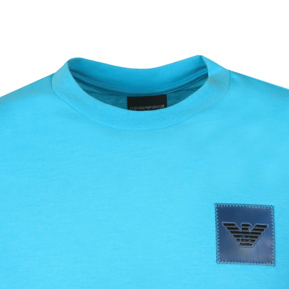 Emporio Armani Mens Blue Reflective Patch Logo T Shirt
