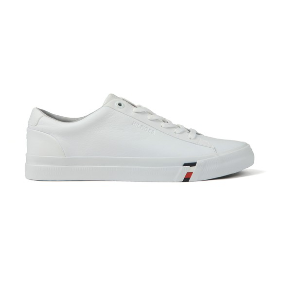 Tommy Hilfiger Mens White Signature Tape Leather Trainer
