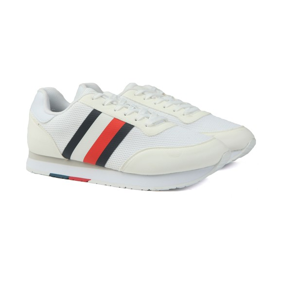 Tommy Hilfiger Mens White Signature Block Mix Trainer