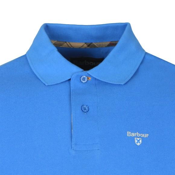 Barbour Lifestyle Mens Blue Tartan Pique Polo Shirt main image