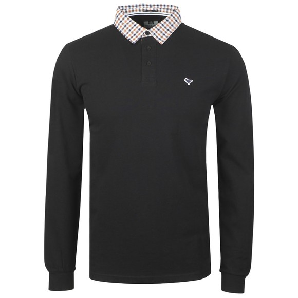 Weekend Offender Mens Black Bentvena Long Sleeve Polo Shirt