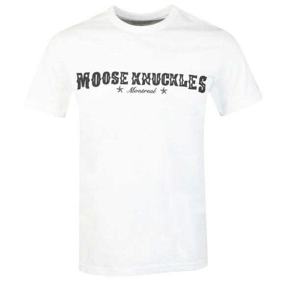 Moose Knuckles Mens White Western Script T Shirt