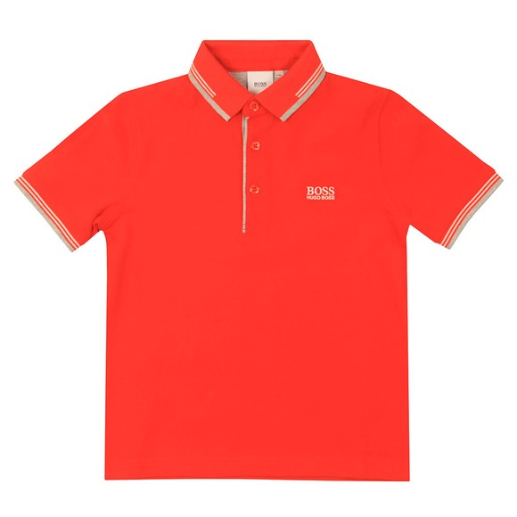 BOSS Boys Orange Short Sleeve Twin Collar Polo Shirt