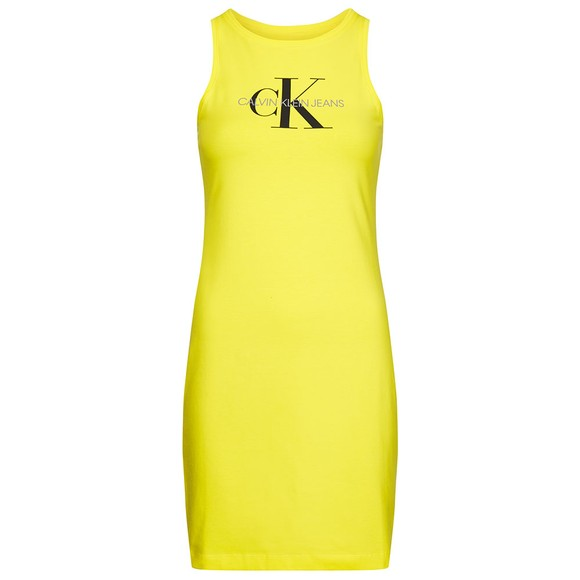 Calvin Klein Jeans Womens Yellow Monogram Stretch Sleeveless Dress main image