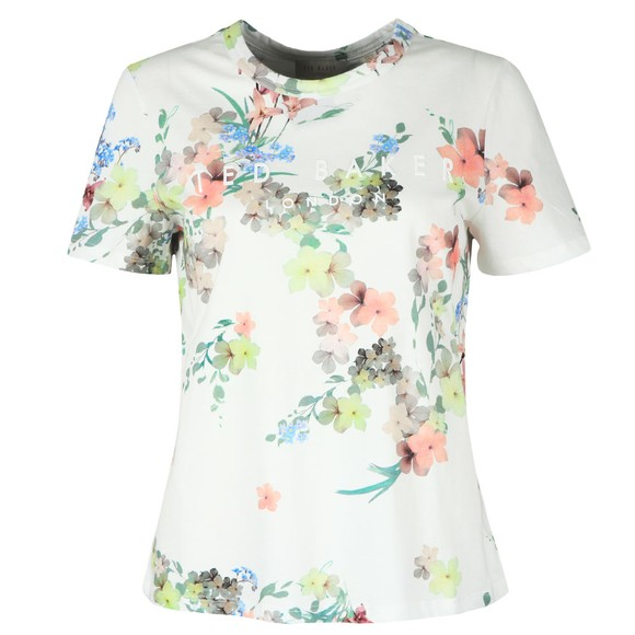 Ted Baker Womens Off-White Lileeyy Pergola Branded T-Shirt main image