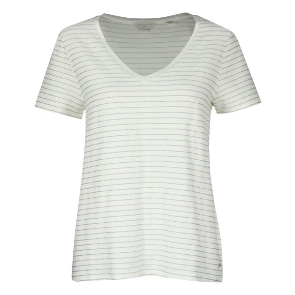Ted Baker Womens Off-White Giianai V Neck Relaxed Striped T-Shirt
