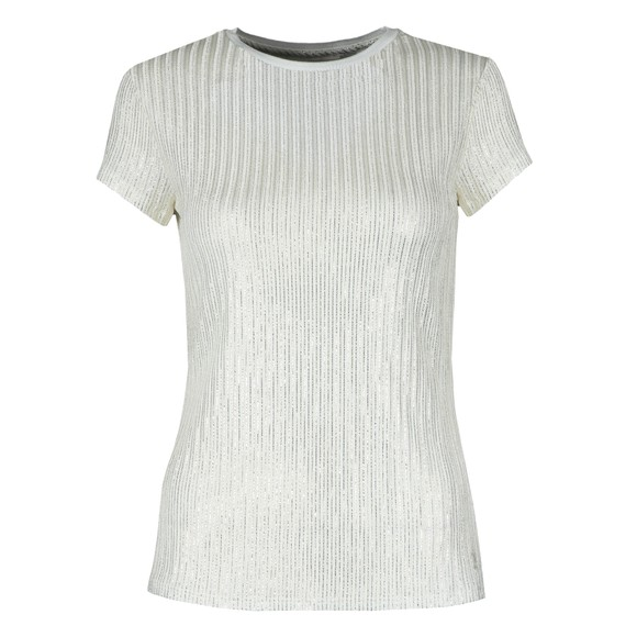 Ted Baker Womens Off-White Catrino Metallic Fitted T-Shirt