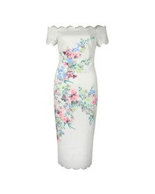 Ted Baker Womens Off-White Trixiiy Pergola Scallop Detail Bodycon Dress