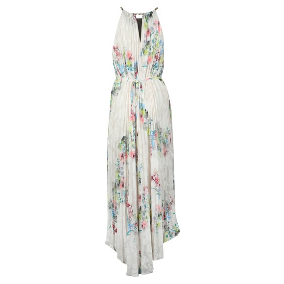 Ted Baker Womens Off-White Threlin Pergola Pleated Halterneck Dress