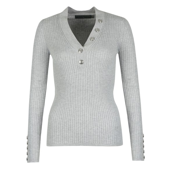 Holland Cooper Womens Grey Classic Button V Neck Knit