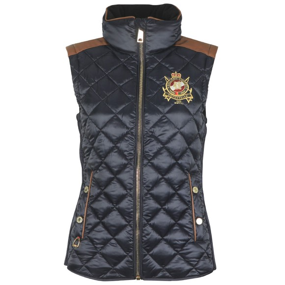 Holland Cooper Womens Blue Equi Diamond Quilt Gilet