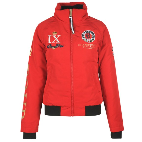 Holland Cooper Womens Red Equi Team Bomber Jacket