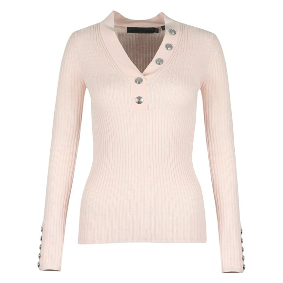 Holland Cooper Womens Pink Classic Button V Neck Knit main image