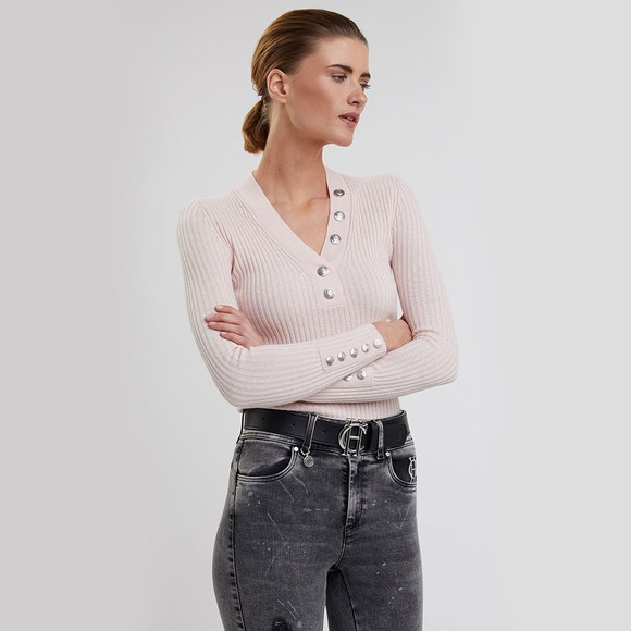 Holland Cooper Womens Pink Classic Button V Neck Knit