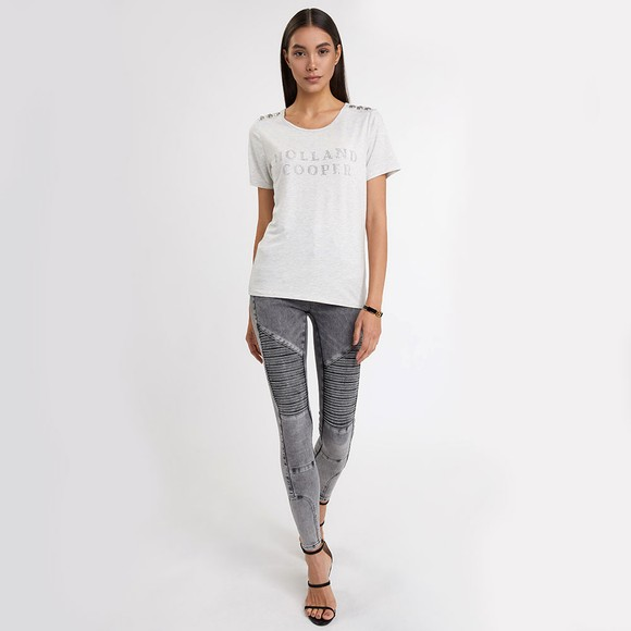 Holland Cooper Womens Grey Essential Crystal Crew Neck T Shirt main image