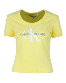 Calvin Klein Jeans Womens Yellow Vegetable Dye Monogram T-Shirt