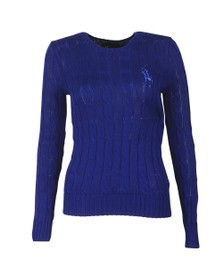 Polo Ralph Lauren Womens Blue Diamante Logo Juliana Cable Jumper