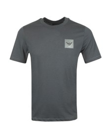 Emporio Armani Mens Grey Reflective Patch Logo T Shirt