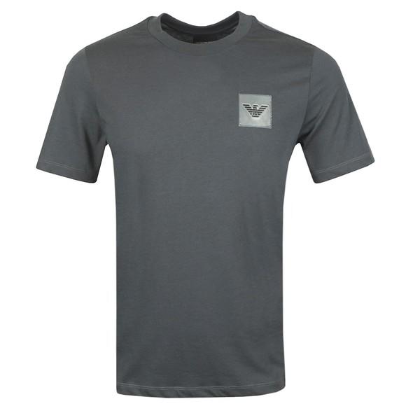 Emporio Armani Mens Grey Reflective Patch Logo T Shirt