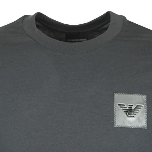 Emporio Armani Mens Grey Reflective Patch Logo T Shirt main image