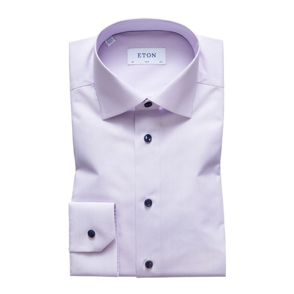 Eton Mens Purple Twill Shirt With Navy Details