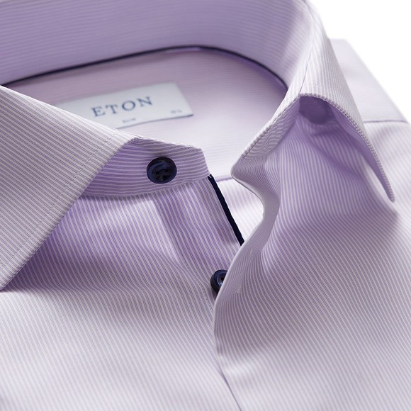 Eton Mens Purple Twill Shirt With Navy Details main image