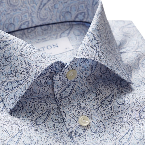 Eton Mens Blue Antique Paisley Poplin Shirt main image