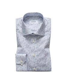 Eton Mens Blue Antique Paisley Poplin Shirt