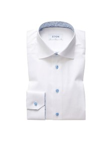 Eton Mens White Antique Paisley Poplin Shirt
