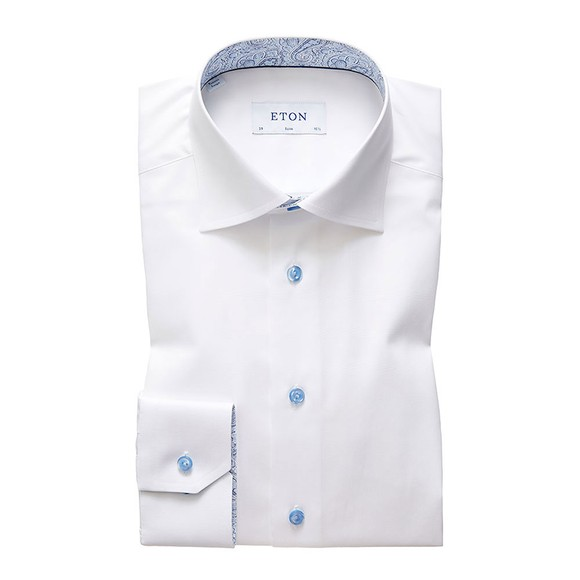 Eton Mens White Antique Paisley Poplin Shirt main image
