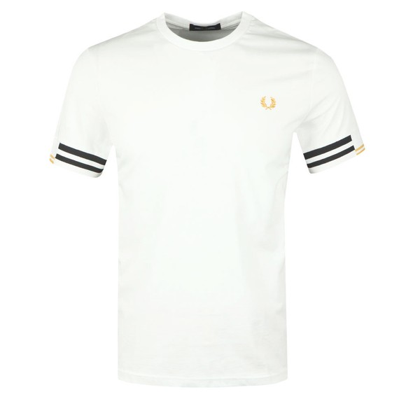 Fred Perry Mens Off-White Abstract Cuff T-Shirt main image